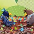 """""""Le nid est fini"""" illustration originale de Coralie Saudo. L'artiste travaille aussi ses images en utilisant du pastel gras, des crayons et même du coton à broder!"""