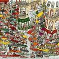 """""""Embouteillages en ville"""" - Illustration tirée de l'album """"Coquillages et Petit ours"""" écrit et illustré par Benjamin Chaud, publié aux Editions Hélium."""