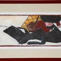 """""""Un chasseur vint à passer par là…"""" - Illustration originale de Frédérick Mansot tirée de l'album """"Le petit Chaperon rouge"""" écrit par les frères Grimm publié aux éditions Magnard Jeunesse."""