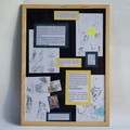 Autre cadre présentant encore les travaux préparatoires de l'artiste : esquisses, recherche de personnages…