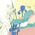 """""""Bébé aux iris"""" - Illustration originale encadrée avec passe-partout ivoire et baguette chêne."""
