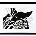 """Illustration originale encadrée d'Antoine Guilloppé tirée de l'album """"Loup noir"""""""