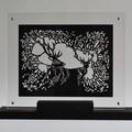 """""""Cerfs"""" - Illustration tirée de l'album """"Pleine lune"""" présentée dressée et en transparence sous plexiglass"""