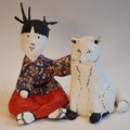 Akiko et son ami le Renard - Sculpture en papier mâché
