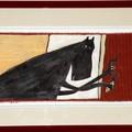 """""""Toc-toc-toc, qui est là ?"""" - Illustration originale de Frédérick Mansot tirée de l'album """"Le petit Chaperon rouge"""" écrit par les frères Grimm publié aux éditions Magnard Jeunesse."""