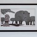 """""""Ours"""" - illustration originale encadrée d'Antoine Guilloppé tirée de la série d'albums sur l'héroïne Akiko"""