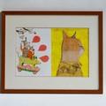 """""""Chatouilles"""" et """"Hilary"""" - Illustrations originales encadrées de l'album """"Chats rimés"""" - Vanessa Hié - Éditions Didier Jeunesse."""