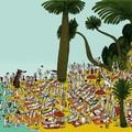 """""""Sur la plage"""" - Illustration tirée de l'album """"Coquillages et Petit ours"""" écrit et illustré par Benjamin Chaud, publié aux Éditions Hélium."""
