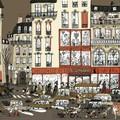 """""""Dans la ville"""" - Illustration tirée de l'album """"Une chanson d'ours"""" écrit et illustré par Benjamin Chaud, publié aux Éditions Hélium."""