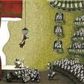 """""""Papa ours accroché au lustre de la salle de l'opéra""""- Illustration tirée de l'album """"Une chanson d'ours"""" écrit et illustré par Benjamin Chaud, publié aux Éditions Hélium."""