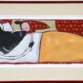 """""""Mère-grand, que vous avez de longues dents!"""" - Illustration originale de Frédérick Mansot tirée de l'album """"Le petit Chaperon rouge"""" écrit par les frères Grimm publié aux éditions Magnard Jeunesse."""