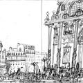 """Crayonné de l'illustration """"Aux marches de l'Opéra""""."""