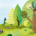 """""""L'arbre idéal"""" illustration originale de Coralie Saudo. Personnages réalisés en pâte à modeler et peints. Décors constitués de papiers découpés, de peinture, de tissu..."""