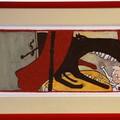 """""""En une seule bouchée, il l'avala"""" - Illustration originale de Frédérick Mansot tirée de l'album """"Le petit Chaperon rouge"""" écrit par les frères Grimm publié aux éditions Magnard Jeunesse."""