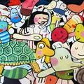 Une quarantaine de mini-décors peints recto-verso destinés à être suspendus en l'air dans la pièce où sera présentée l'exposition.