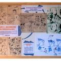 Présentation des travaux préparatoires de l'auteur-illustrateur Christian Voltz en 14 Panneaux encadrés - Étape 2 : Recherches de personnages