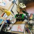 """Atelier de Judith Gueyfier - Travail en cours de réalisation pour l'illustration """"Sieste aux papillons""""."""