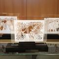 """Illustrations tirées de l'album """"Pleine lune"""" présentées dressées et en transparence sous plexiglass - Médiathèque de Francheville (69)"""